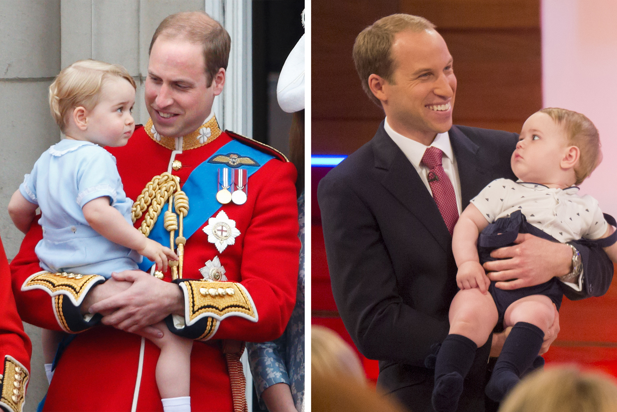(left) Prince William, Duke of Cambridge carries his son Prince George of Cambridge as he stands on the balcony of Buckingham Palace during Trooping the Colour on June 13, 2015 in London, England; (right) Prince William look-alike Simon Watkinson with Prince George look-alike on the Andrea McLean 'Loose Women' TV show, London, UK, June 10, 2016.