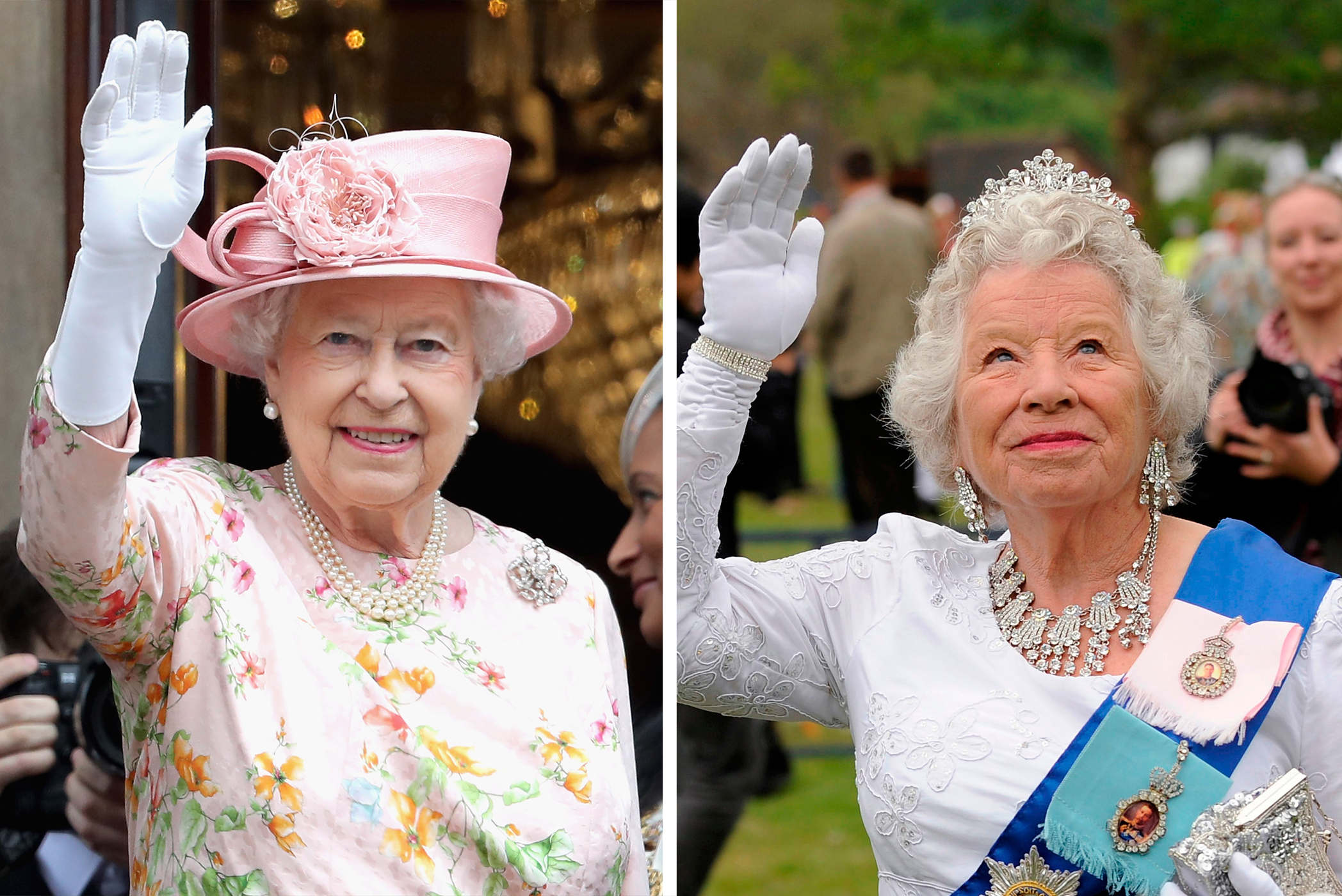 (left) Queen Elizabeth II waves from the balcony of the Town Hall during a visit to Liverpool on June 22, 2016 in Liverpool, England. ; (right) Patricia Ford, a lookalike of Queen Elizabeth, waves at a gathering in Bucklebury near Reading on the day of the Royal Wedding between Britain's Prince William and Kate Middleton in Westminster Abbey in London April 29 2011.