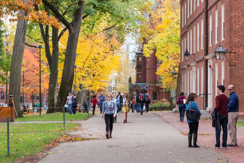 Old heart of Harvard University campus, on a beautiful Fall day in Cambridge, MA, on November 2, 2013.