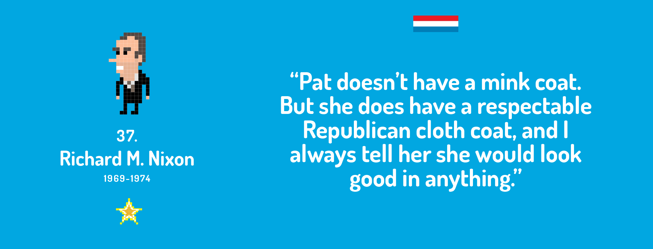 Pat doesn't have a mink coat. But she does have a respectable Republican cloth coat, and I always tell her she would look good in anything.