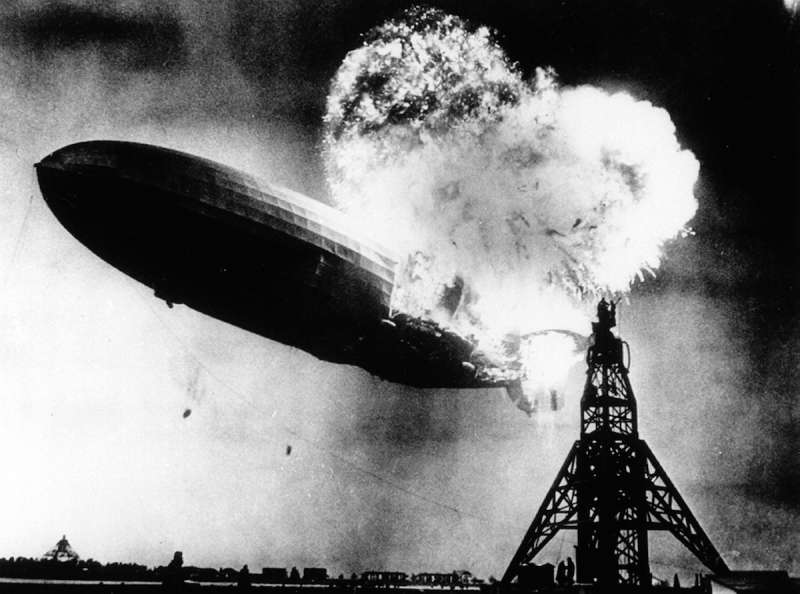 The Hindenburg, a large German commercial passenger-carrying rigid airship, destroyed by fire on May 6, 1937, at the end of the first North American transatlantic journey at Lakehurst Naval Air Station in Manchester Township, N.J.