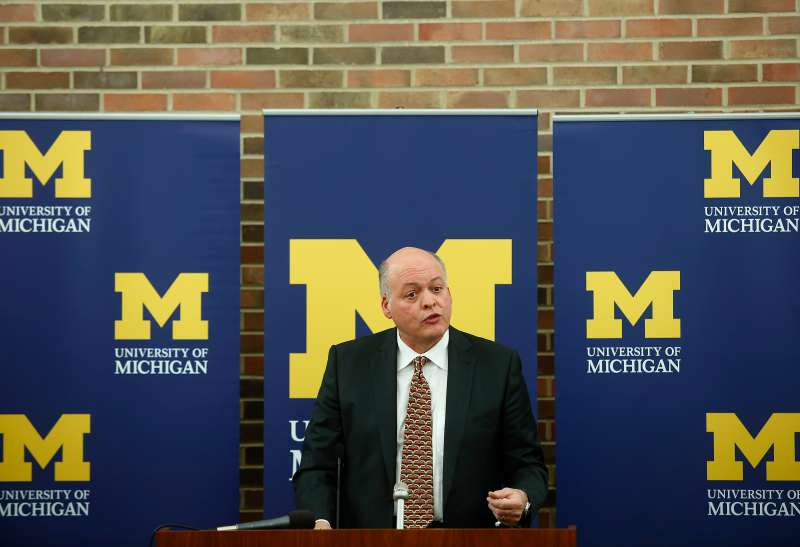 Jim Hackett speaks during a news conference after University of Michigan President Mark Schlissel named interim athletic director in the Regents Room of the Fleming Administration Building October 31, 2014 in Ann Arbor, Michigan.