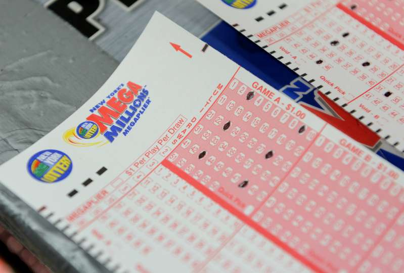 Mega Millions lottery ticket forms at a convenience store on the east side of Manhattan March 30, 2012 in New York.