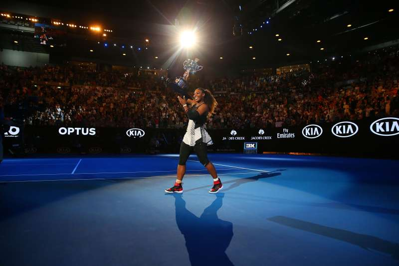 Serena Williams waves to the crowd as she leaves the court with the Daphne Akhurst Trophy after winning the Women's Singles Final against Venus Williams of the United States on day 13 of the 2017 Australian Open at Melbourne Park on January 28, 2017 in Melbourne, Australia.