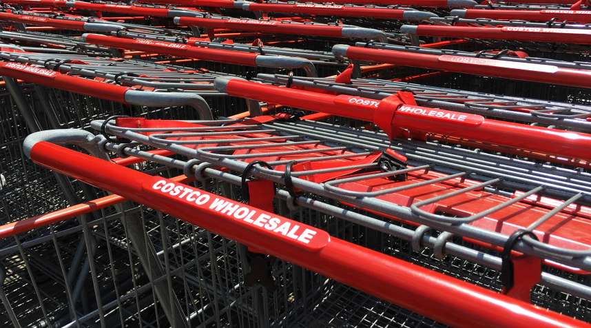 Shopping carts are seen outside a Costco Wholesale warehouse club in Westbury, New York, May 23, 2016.