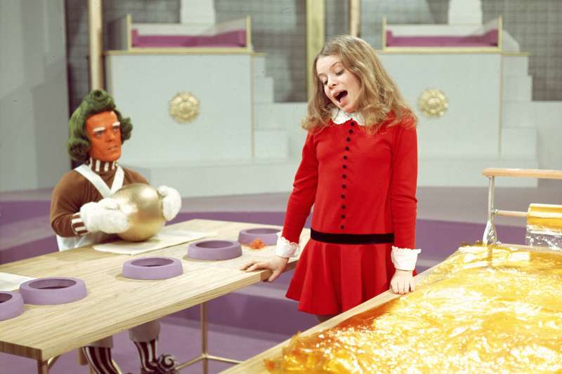 Rusty Goffe (as an Oompa Loompa) and Julie Dawn Cole (as Veruca Salt) in Willy Wonka and the Chocolate Factory (1971), Directed by Mel Stuart