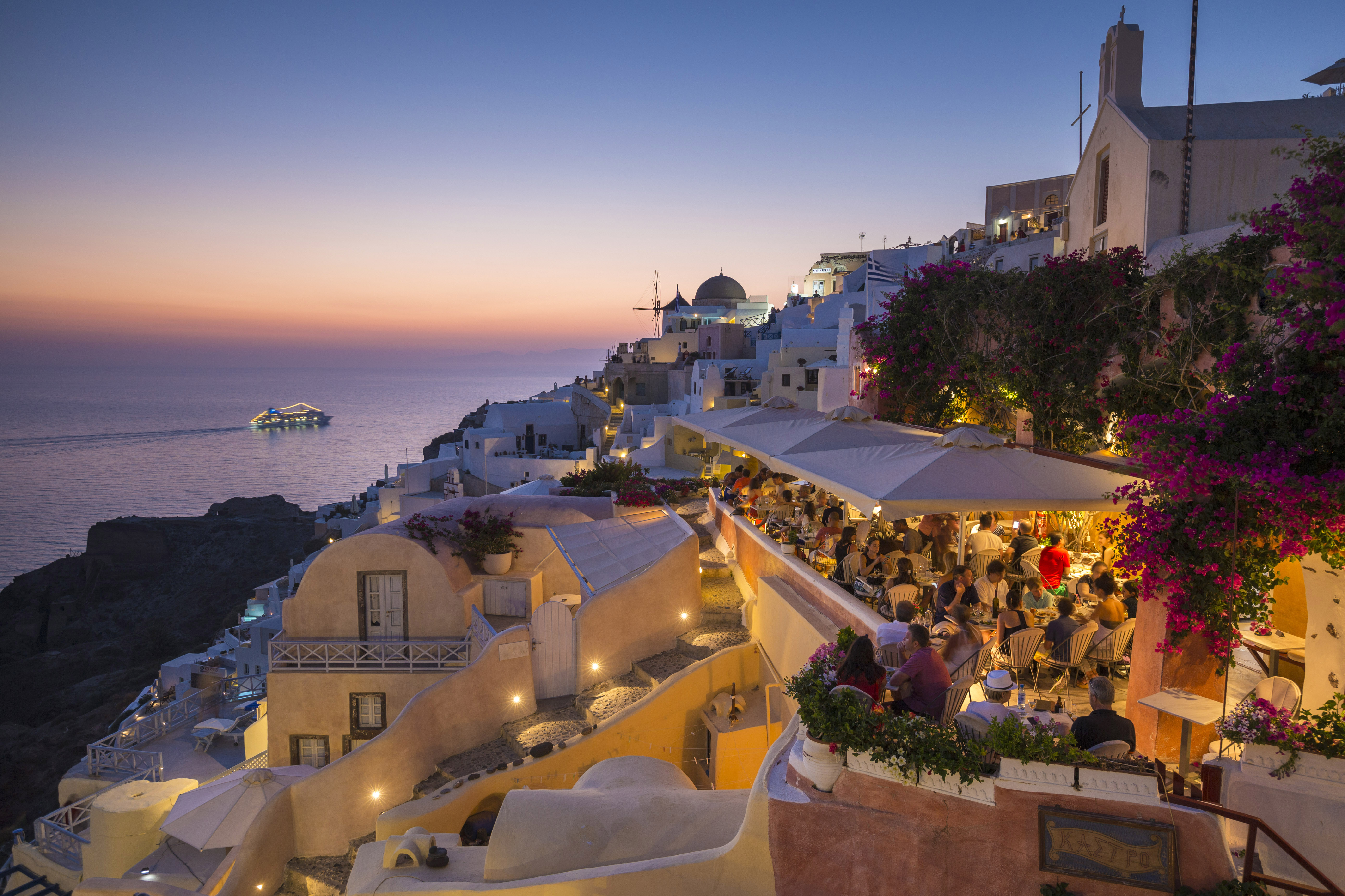 Restaurant overlooking the water in Santorini, Greece.
