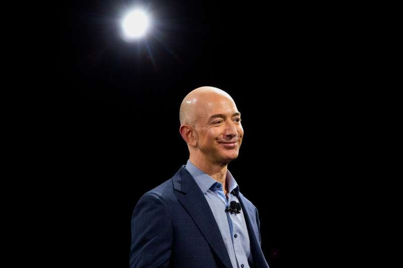 Jeff Bezos speaks after unveiling the Fire Phone during an event at Fremont Studios in Seattle, Washington, June 18, 2014.