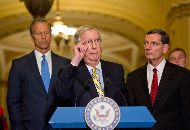 U.S. Senate Majority Leader Mitch McConnell (Republican of Kentucky) speaks to reporters in the United States Capitol in Washington, D.C. in June.