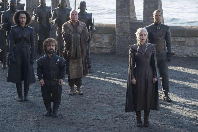 Nathalie Emmanuel, Peter Dinklage, Conleth Hill, Emilia Clarke, Jacob Anderson in HBO's  Game of Thrones  Season 7 (2017).