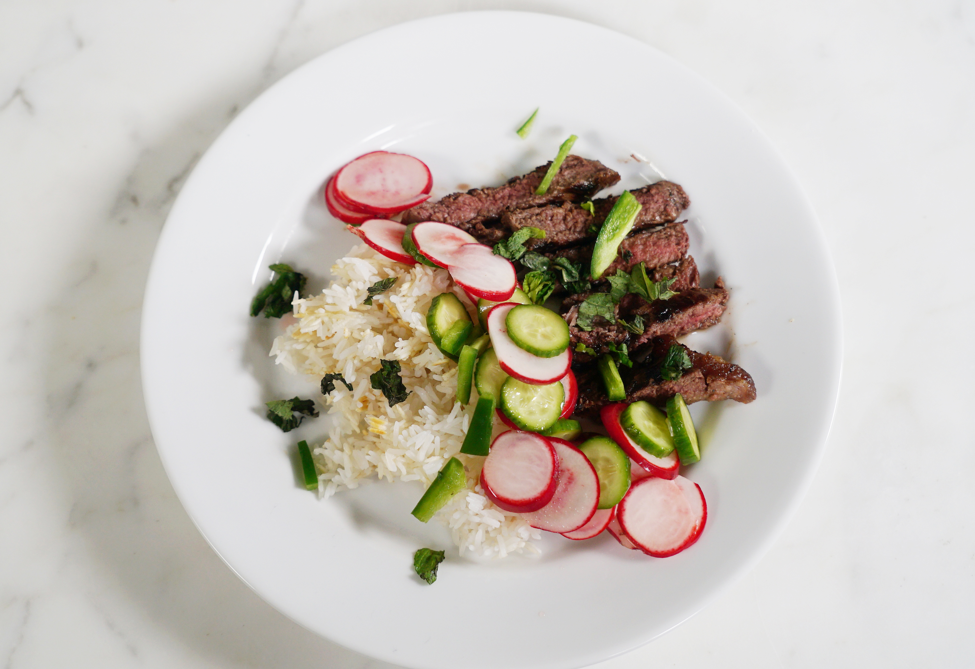 HelloFresh's Vietnamese Marinated Steak with quick-pickled veggies and jasmine rice.