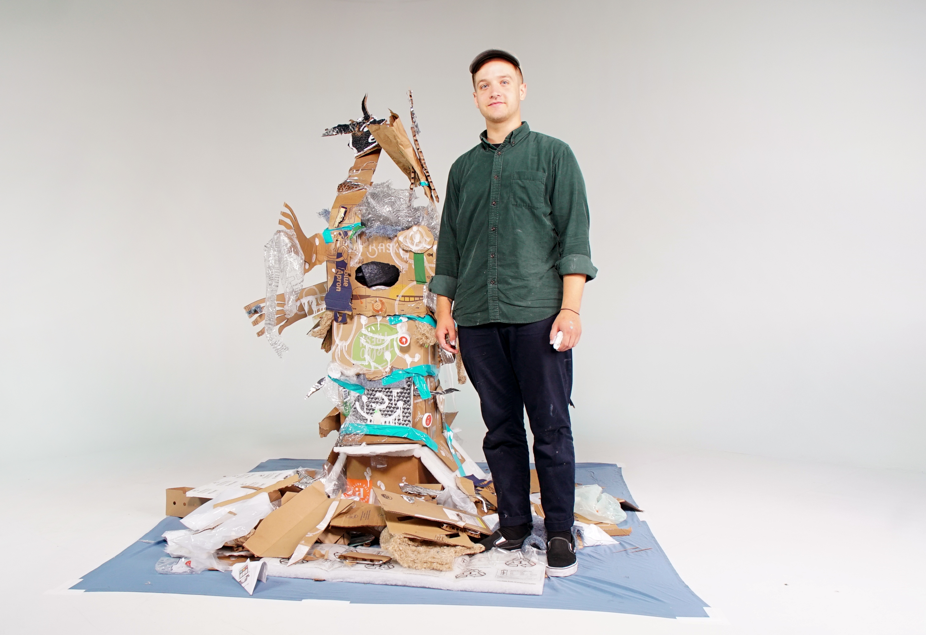 Watch an Artist Turn 66 Pounds of Meal-Kit Trash Into a 6-Foot Garbage Demon