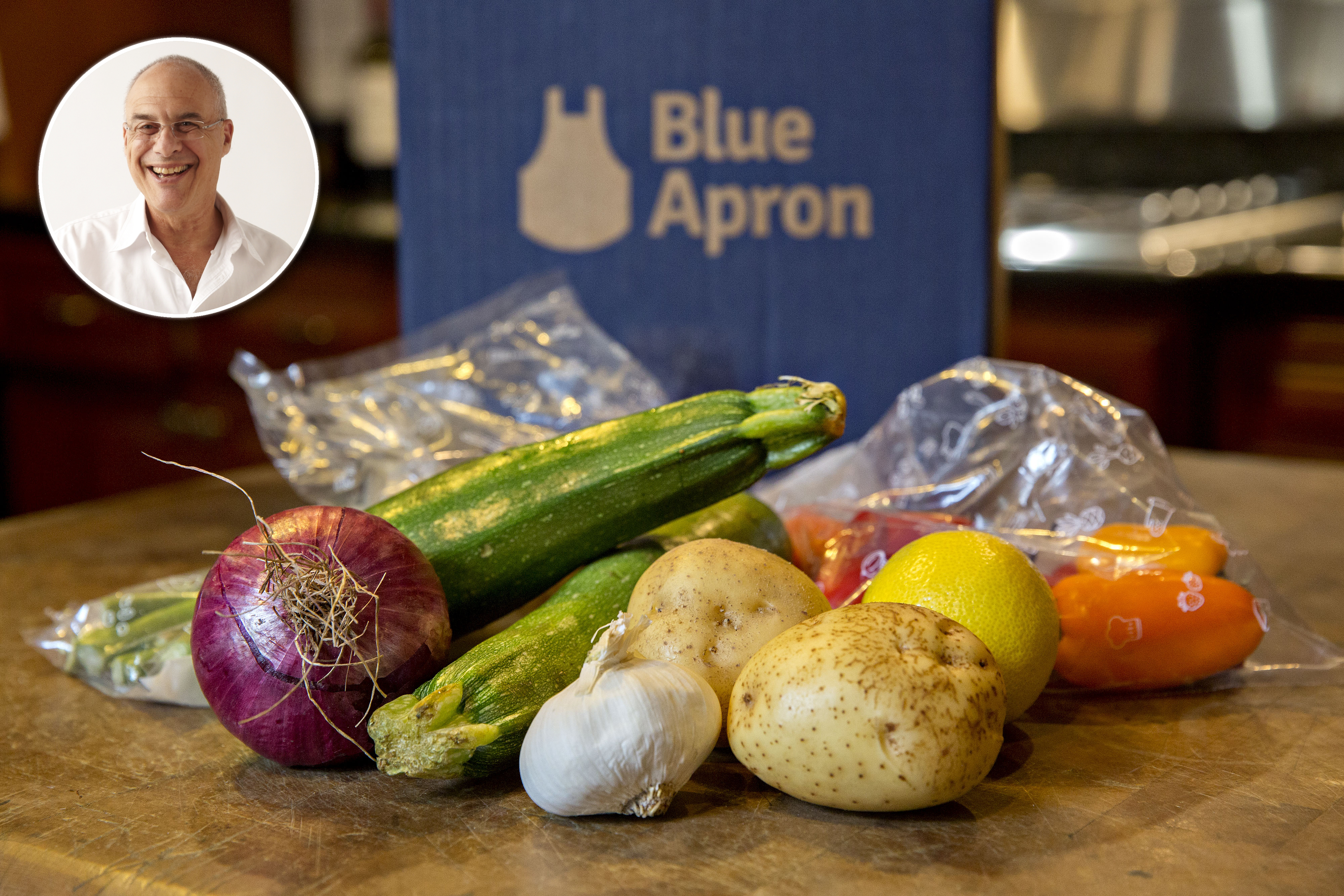 Vegetables from a Blue Apron Holdings Inc. meal-kit delivery are arranged for a photograph in Tiskilwa, Illinois, on June 14, 2017.