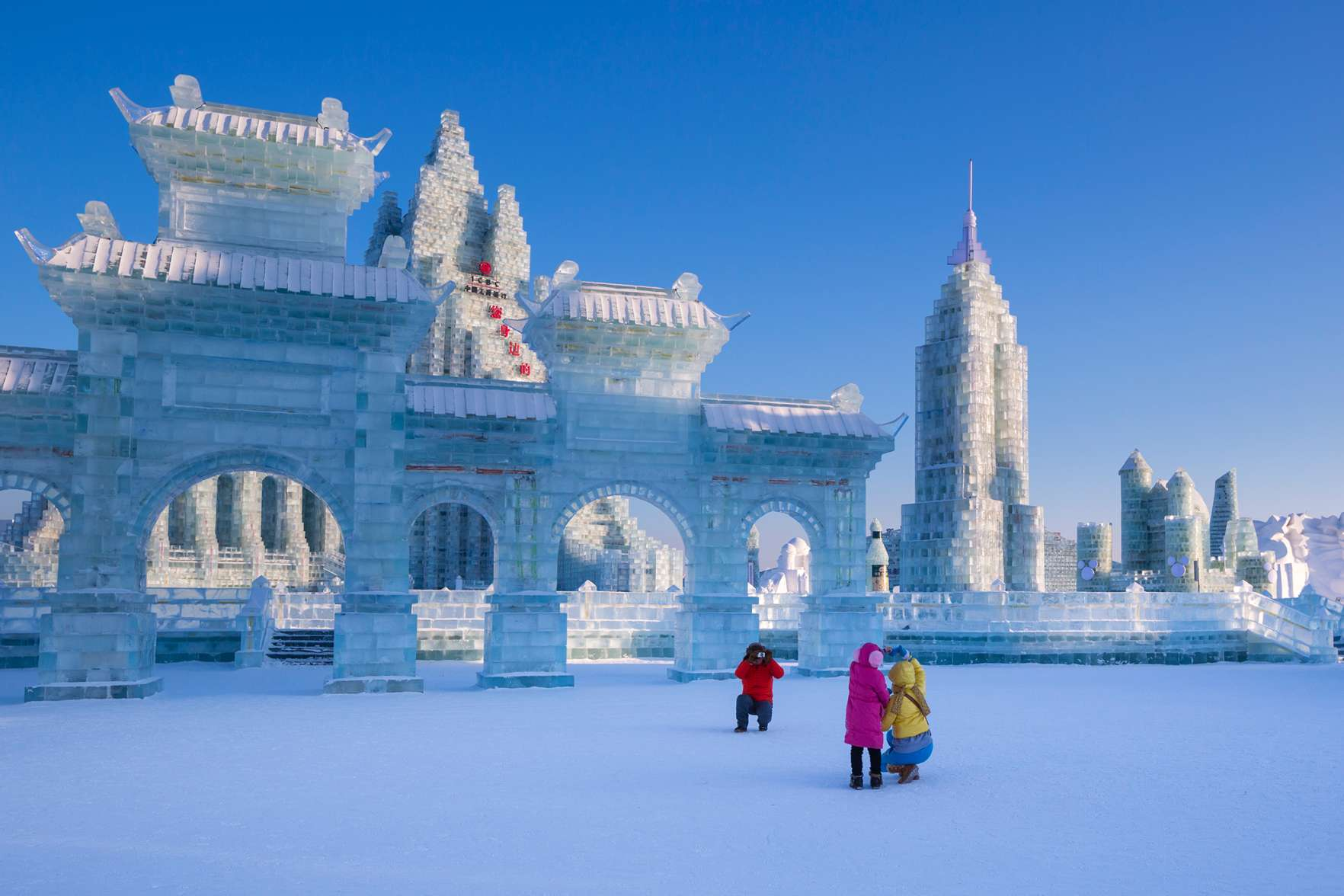 Spectacular ice sculptures at the Harbin Ice and Snow Festival in Heilongjiang Province, Harbin, China