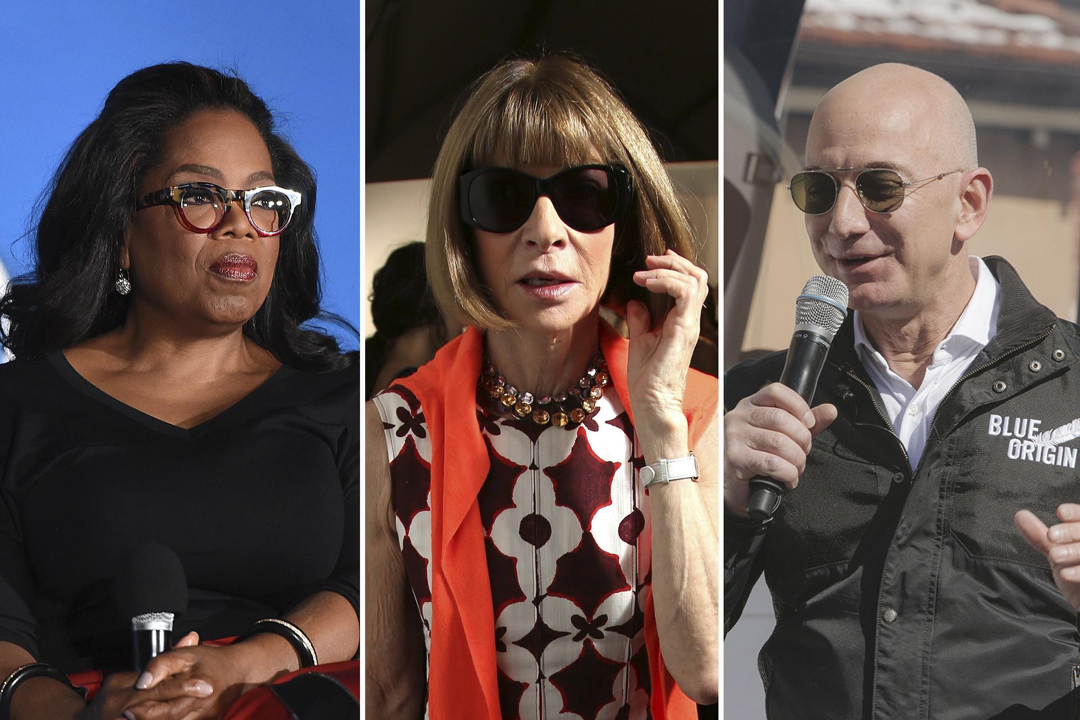 (left to right) Oprah Winfrey, Anna Wintour, Jeff Bezos