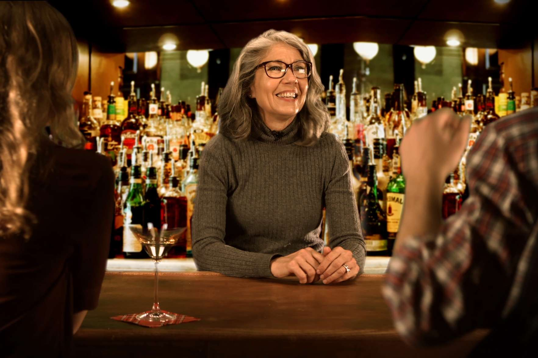 Author Helen Rothberg bartends in a video promoting her book The Perfect Mix: Everything I Know About Leadership I Learned as a Bartender.
