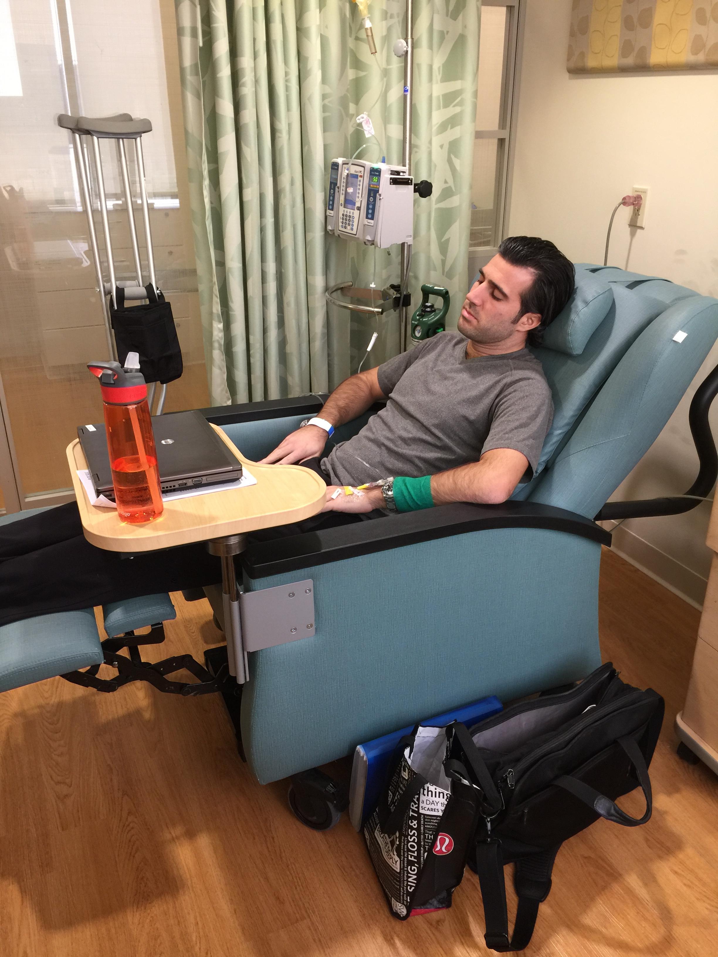 AJ Manas receiving chemotherapy.