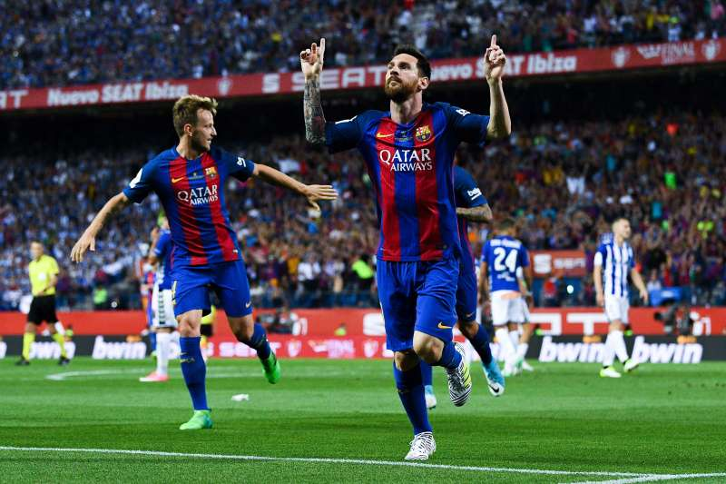 Lionel Messi of FC Barcelona celebrates after scoring his team's first goal during the Copa Del Rey Final between FC Barcelona and Deportivo Alaves at Vicente Calderon stadium on May 27, 2017 in Madrid, Spain.