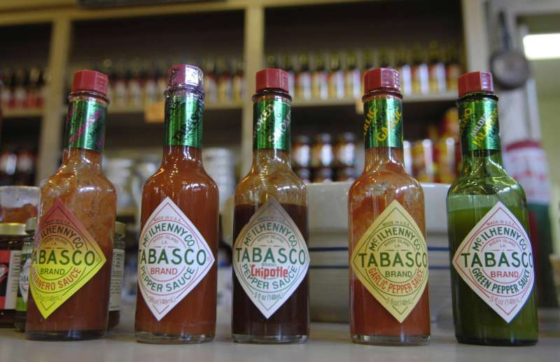 AVERY ISLAND, LA - JULY 21:  Some of the flavors of hot sauce offered by the McIlhenny Company and Tabasco are on display on July 21, 2006.