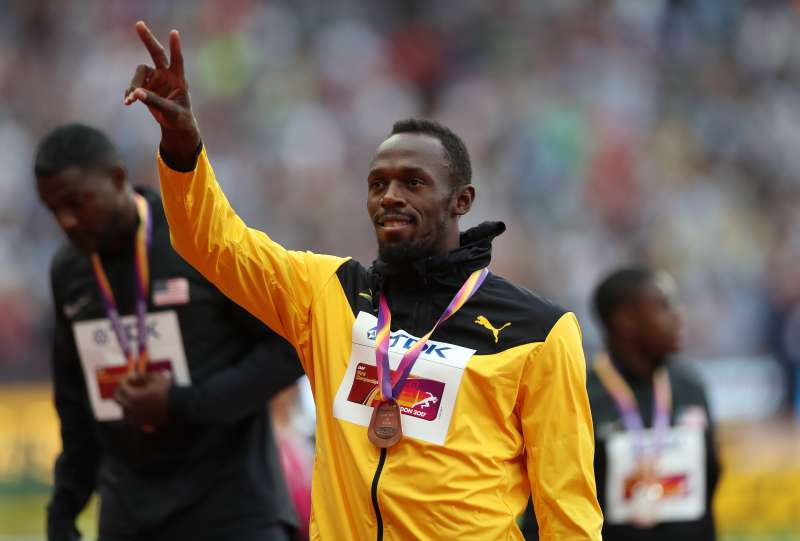 Usain Bolt, during the medal ceremony from the men's 100m final, at the world championships in London, on August 6, 2017.