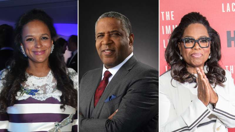 Isabel Dos Santos, Robert Smith and Oprah Winfrey.