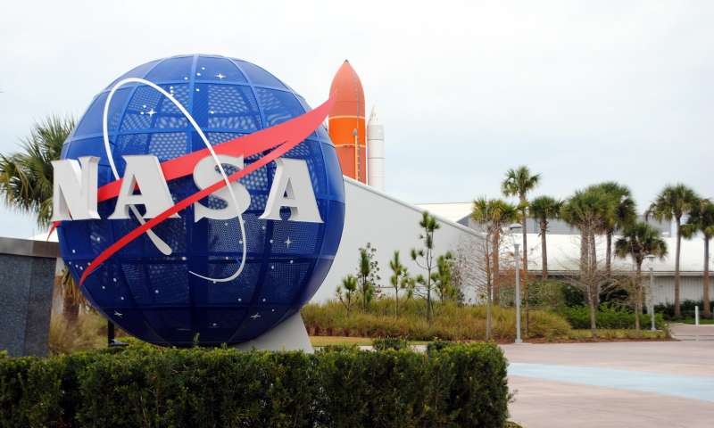 Logo of NASA is seen at the Kennedy Space Center in Cape Canaveral Air Force Station in Florida.