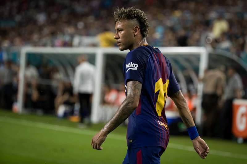 MIAMI, FL - JULY 29: Neymar #11 of Barcelona turns back after a missed shot on goal during the International Champions Cup El Clásico match between FC Barcelona and Real Madrid.