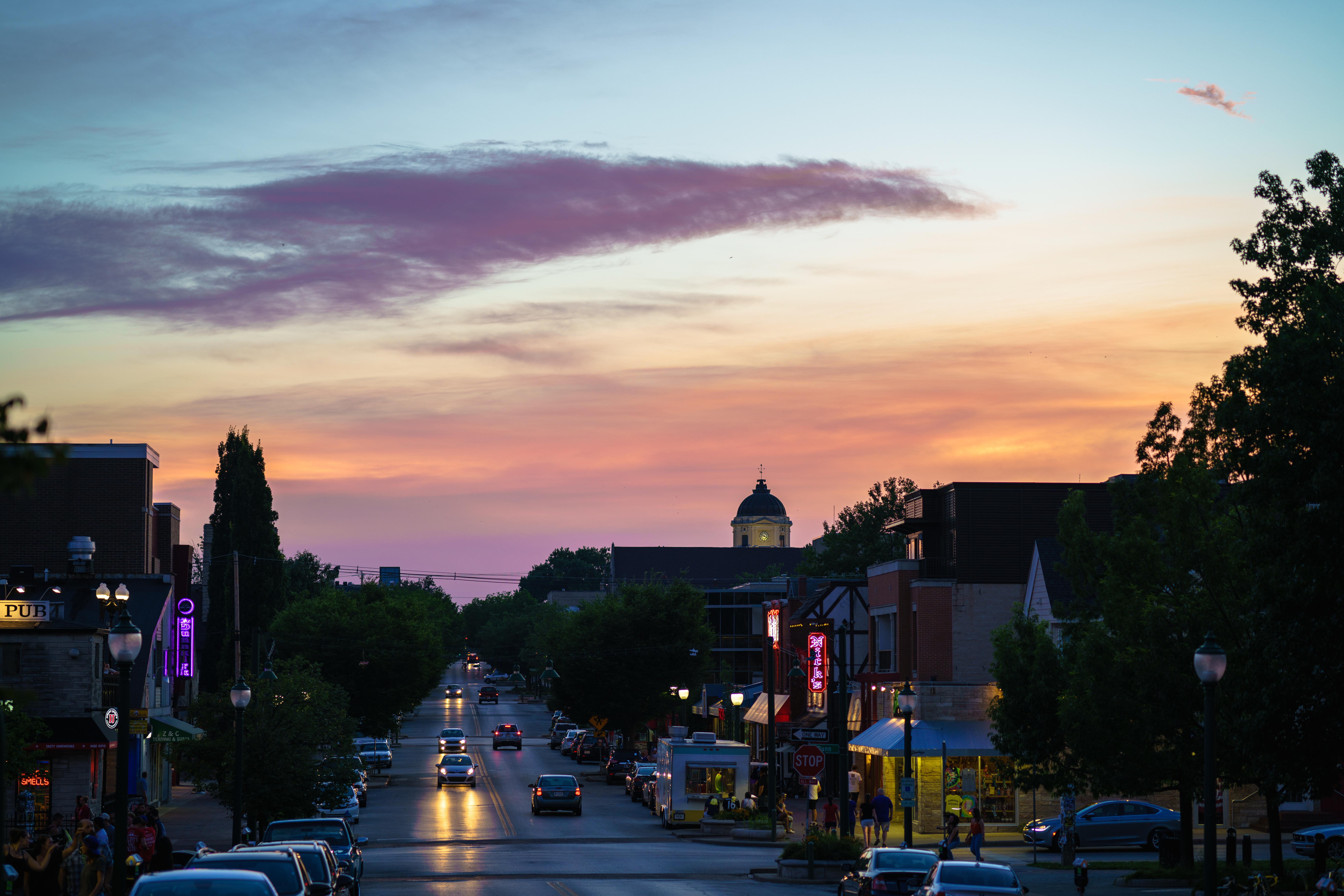 Sunset of Kirkwood Avenue, Bloomington Indiana