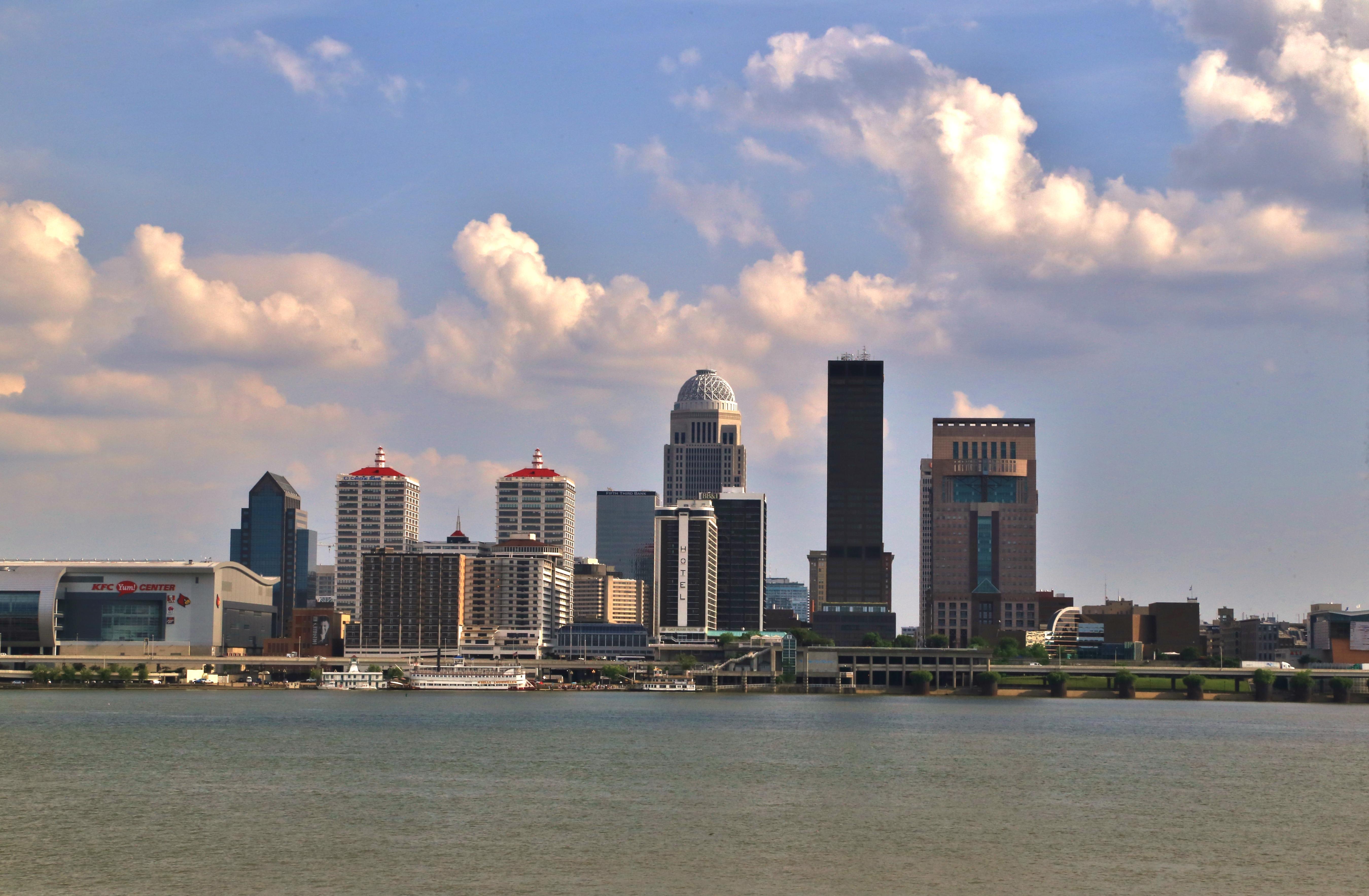 Louisville Kentucky skyline on the Ohio River