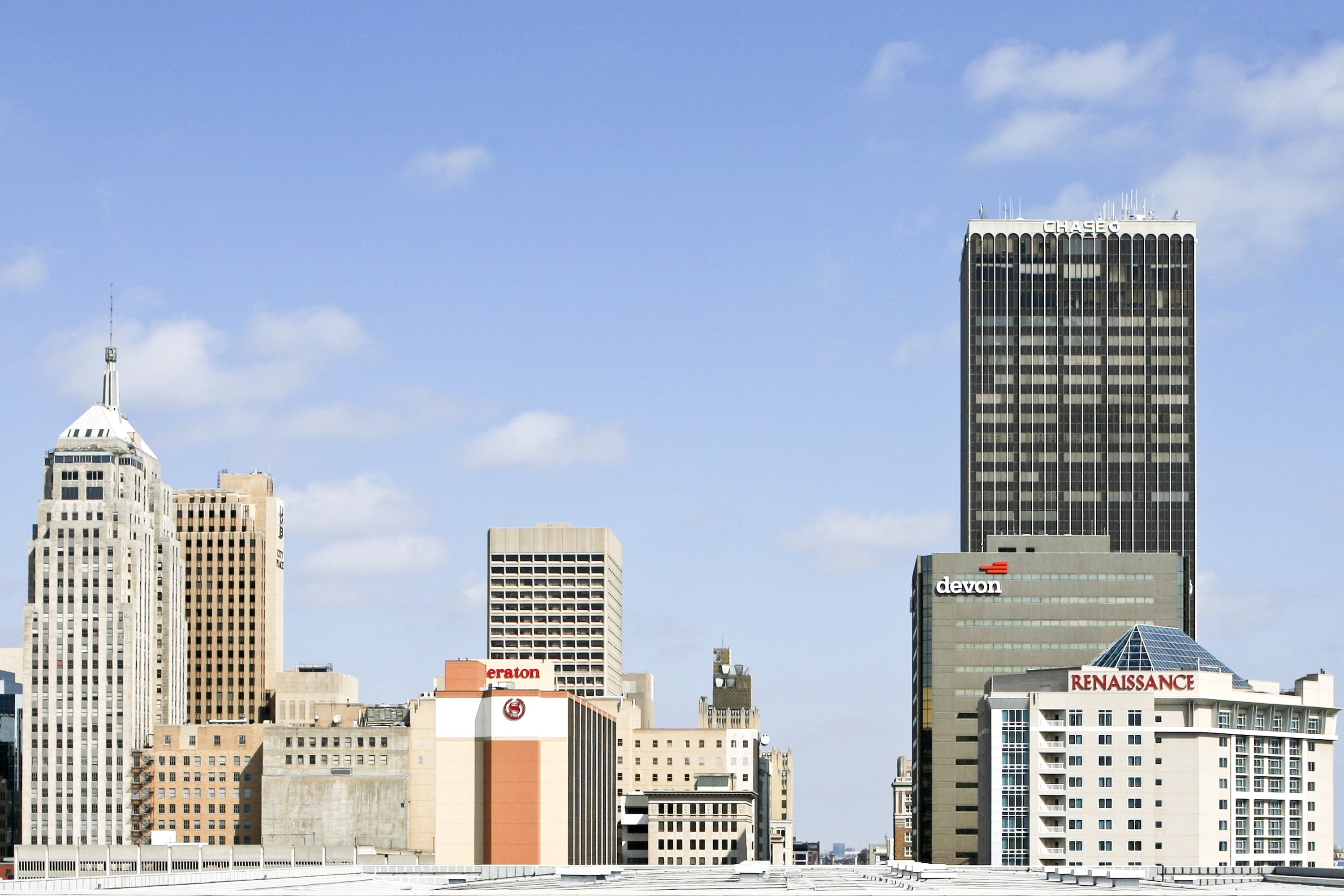 Hotels and commercial buildings stand in Oklahoma City, Okla