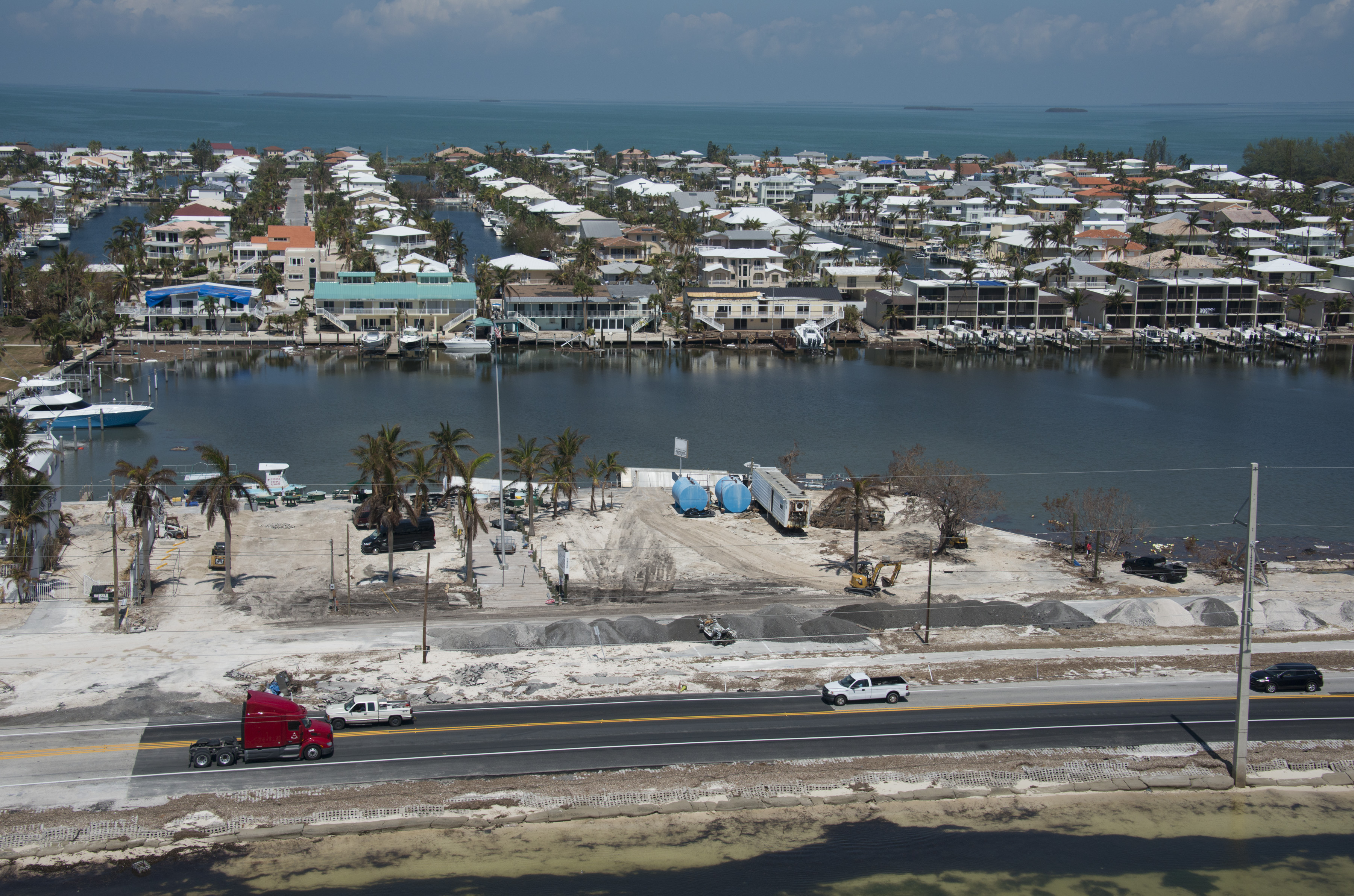 In this handout photo provided by the Florida Keys News Bureau, traffic rolls on a repaired section of the Florida Keys Overseas Highway on Sept. 19, 2017, in Islamorada, Florida.