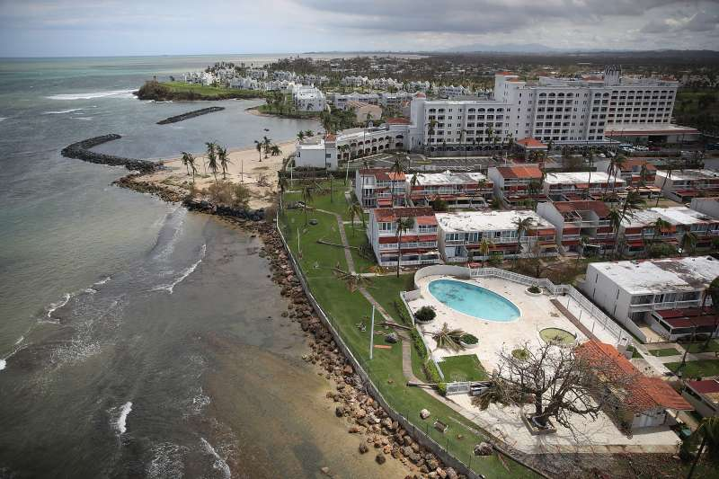 The Embassy Suites by Hilton Dorado del Mar Beach Resort is seen as people deal with the aftermath of Hurricane Maria on September 25, 2017 in Dorado, Puerto Rico.