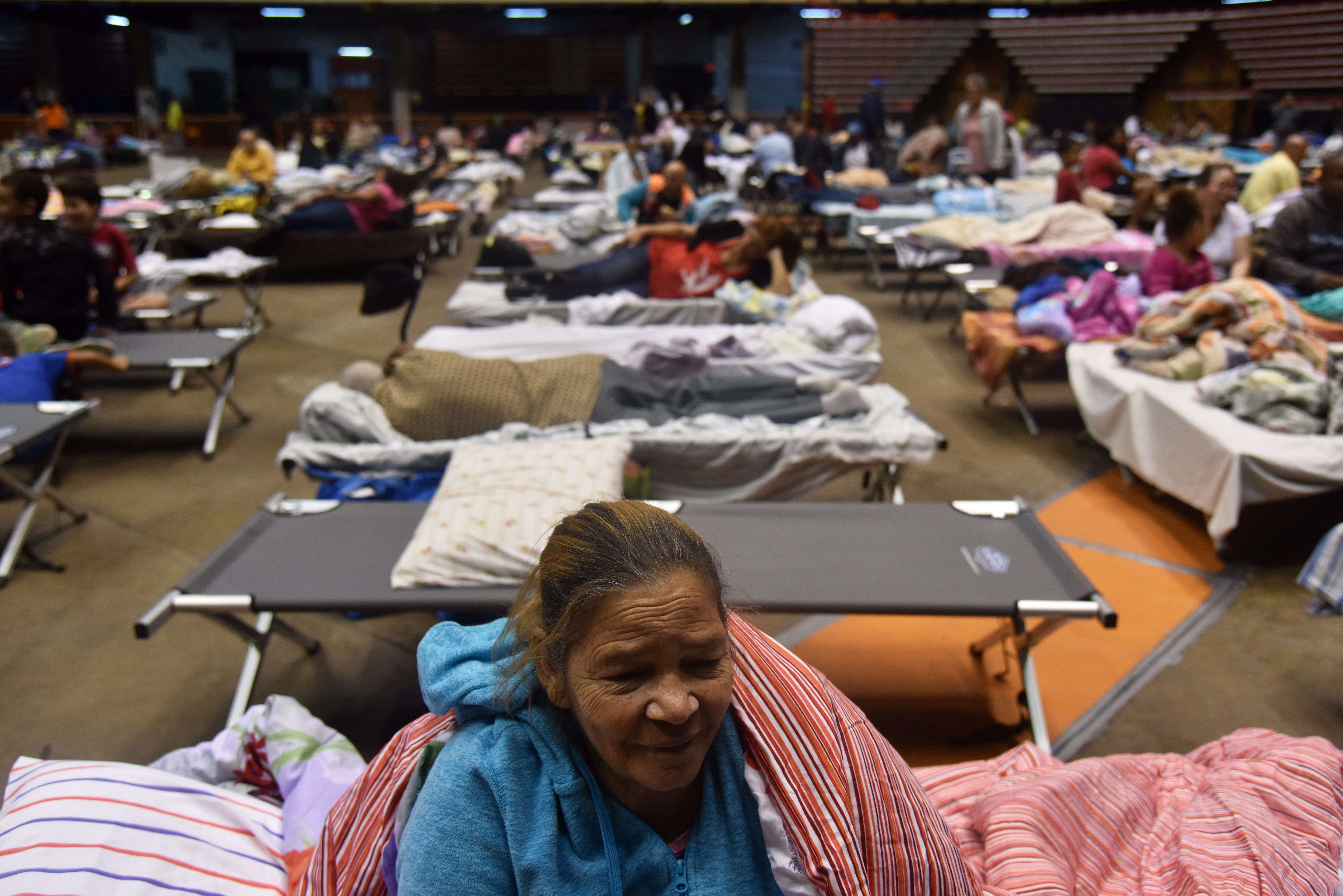 Librada is seen at the Roberto Clemente Coliseum refuge in San Juan, Puerto Rico, on September 19, 2017, prior the arrival of Hurricane Maria.