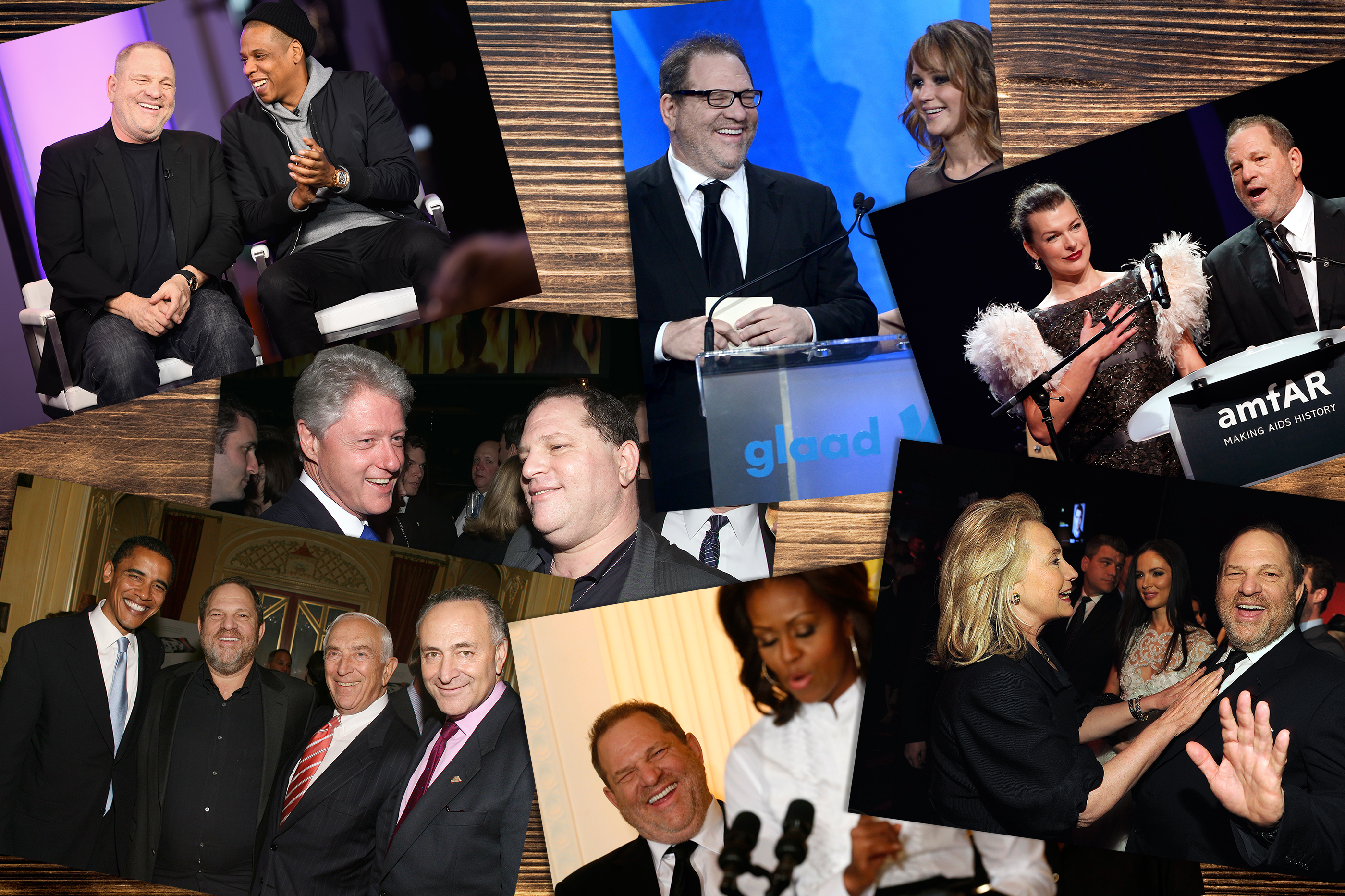 (Clockwise from top left) Harvey Weinstein and Jay Z speak onstage for SpikeTV, 2017; Weinstein and actress Jennifer Lawrence speak onstage during the 24th Annual GLAAD Media Awards; then-Secretary of State Hillary Rodham Clinton and Weinstein attend the TIME 100 Gala in 2012; Weinstein laughs at remarks directed at him by U.S. first lady Michelle Obama as she hosts a workshop at the White House for high school students about careers in film in Washington in 2013; President Bill Clinton and Weinstein at Hillary Clinton's birthday party in 2000; then-Sen. Obama, Weinstein, others attend a private dinner and screening in 2006.