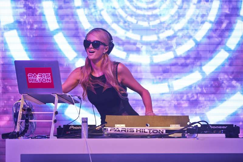 Paris Hilton performs during the International Fashion Fair on August 28, 2015 in Rzgow, Poland. This is an unique opportunity to see her  DJ in Poland for the first time.