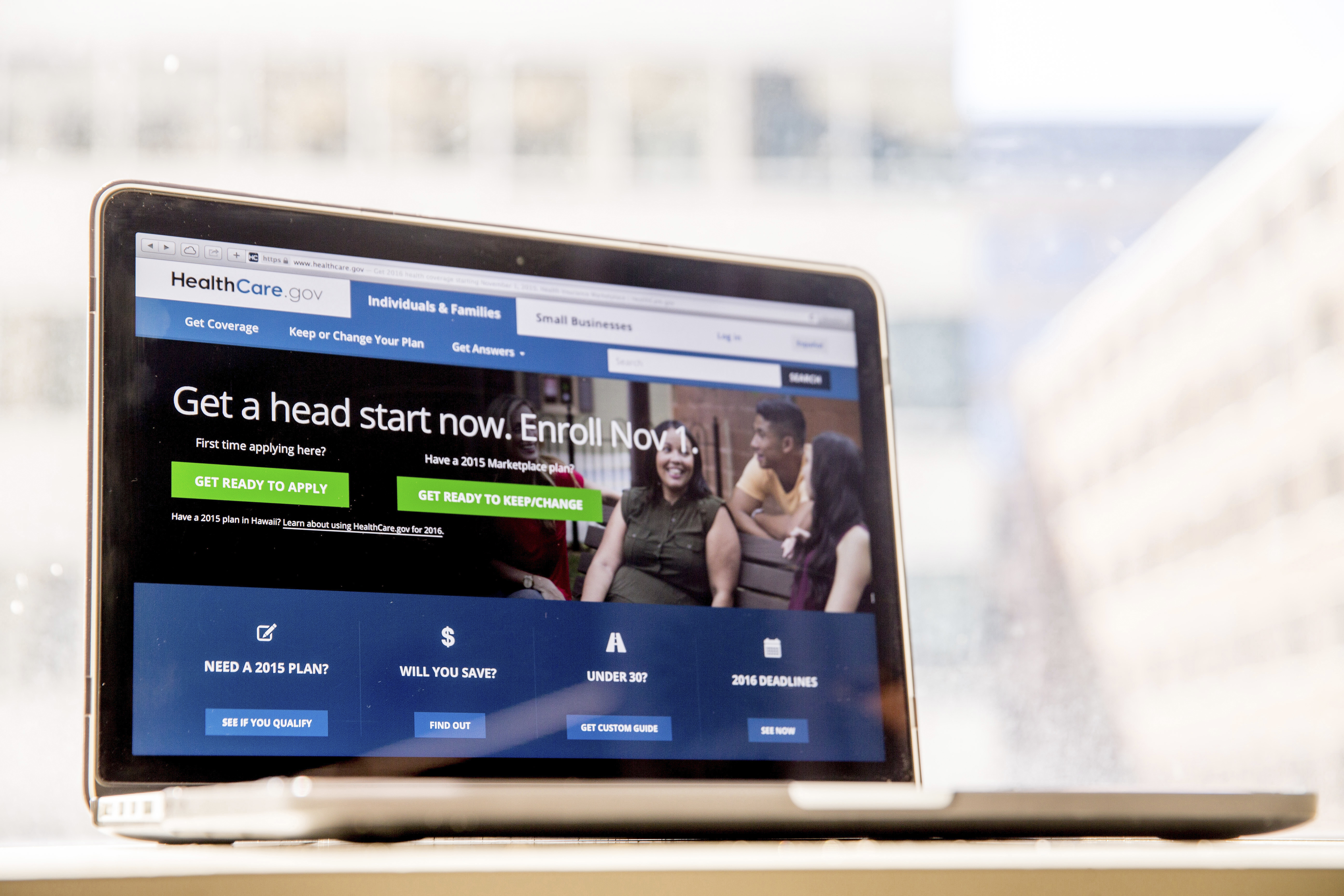 In this Oct. 6, 2015, file photo, the HealthCare.gov website, where people can buy health insurance, is displayed on a laptop screen in Washington. The Obama administration says a little over 1 million people renewed coverage or signed up for the first time through HealthCare.gov around the start of open enrollment.