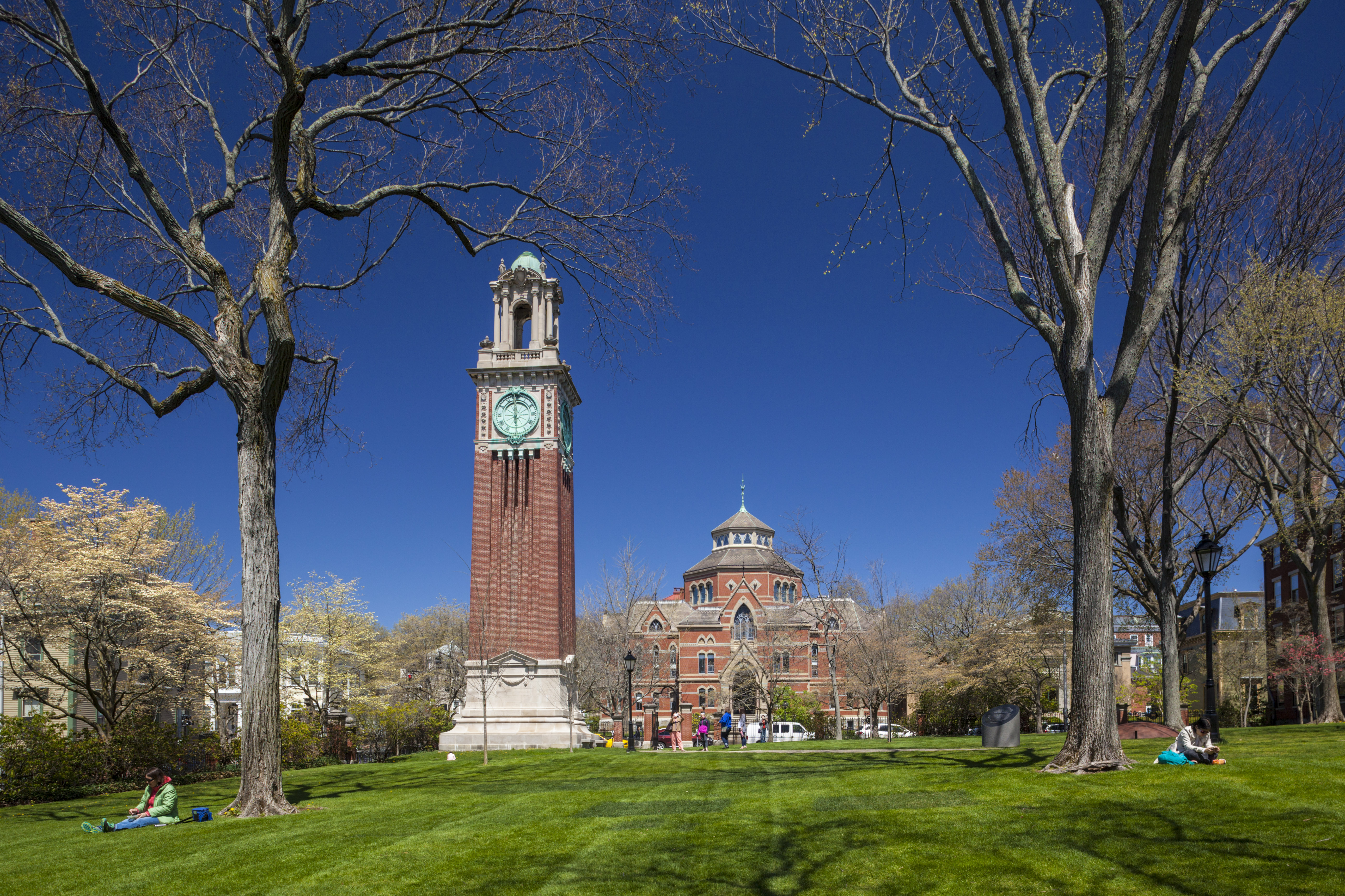USA, Rhode Island, Providence, Brown University, ivy-league university campus and Carrie Tower