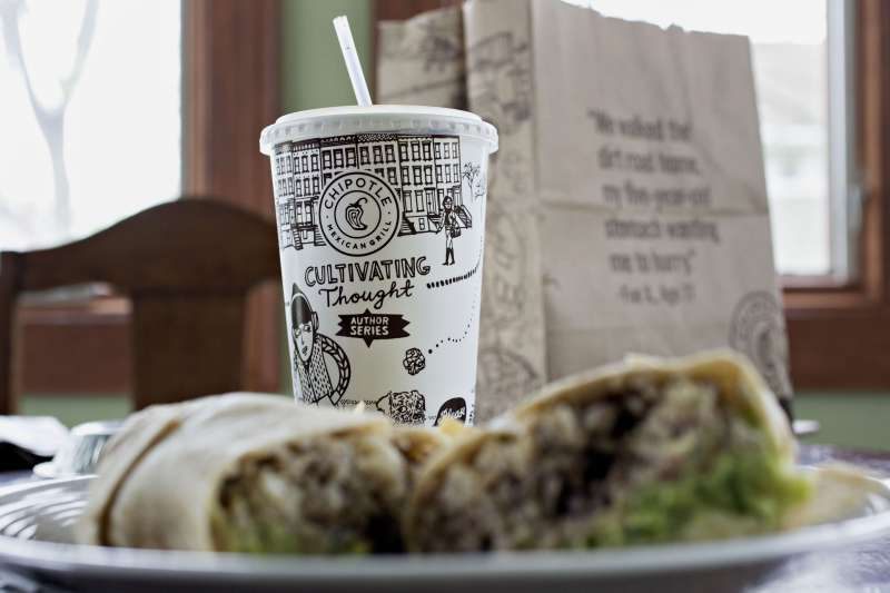 Chipotle Mexican Grill Inc. take-out food is arranged for a photograph in Tiskilwa, Illinois, U.S., on April 22, 2016.