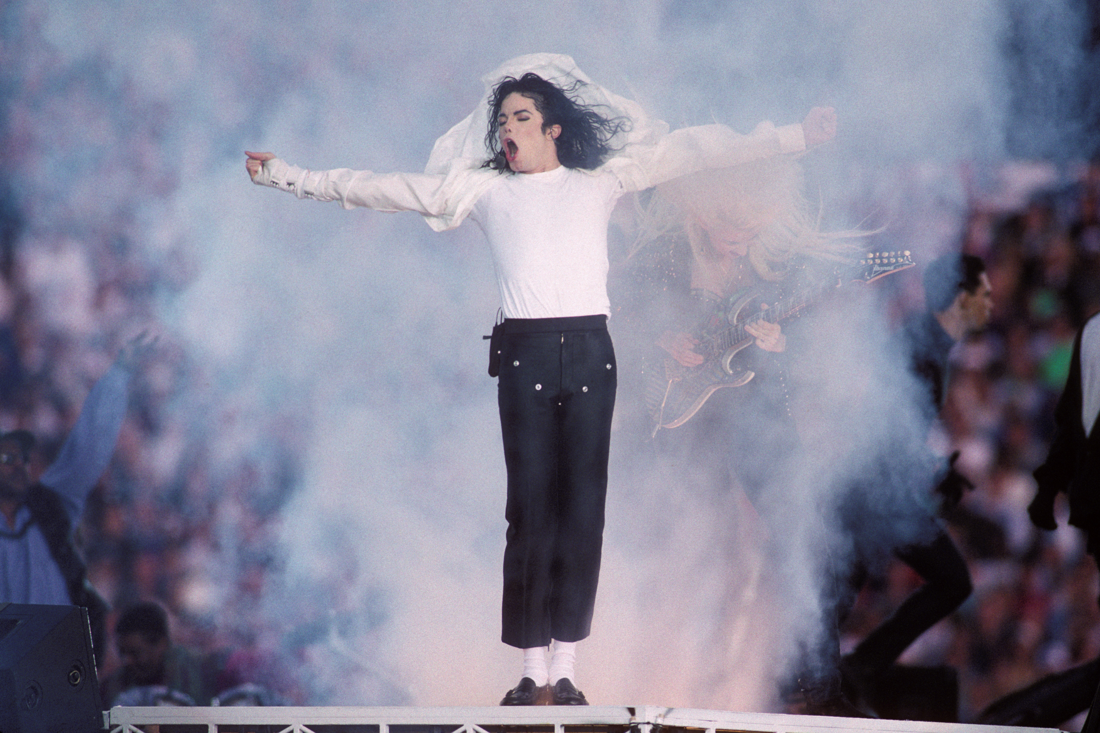 Michael Jackson performs at the Super Bowl XXVII Halftime show at the Rose Bowl on Jan. 31, 1993 in Pasadena, Calif.