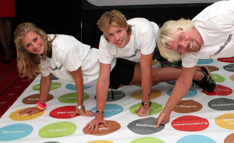 Sir Richard Branson (right) plays Twister with daughter Holly and son Sam.
