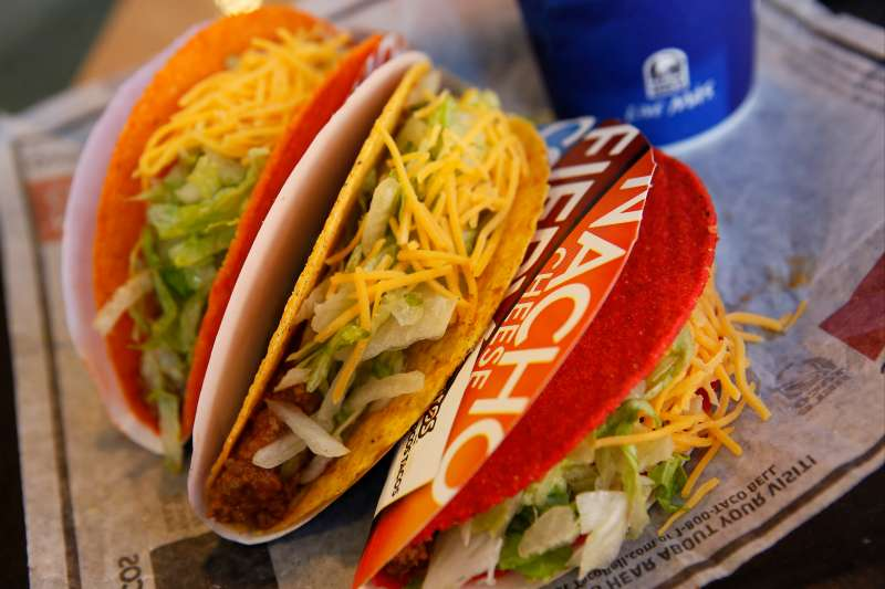 Doritos Locos tacos are arranged for a photograph at a Taco Bell restaurant, a unit of Yum! Brands Inc., in Redondo Beach, California, U.S., on Friday, Oct. 4, 2013.