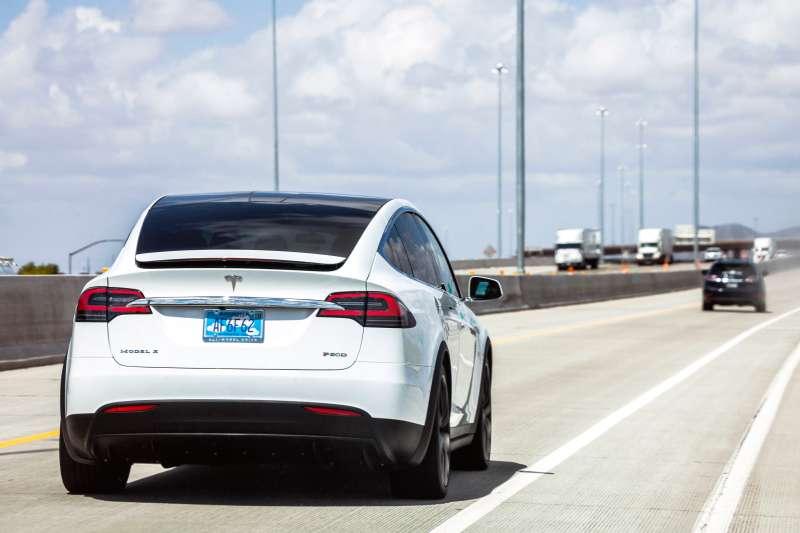Tesla Model X on the highway in Arizona.
