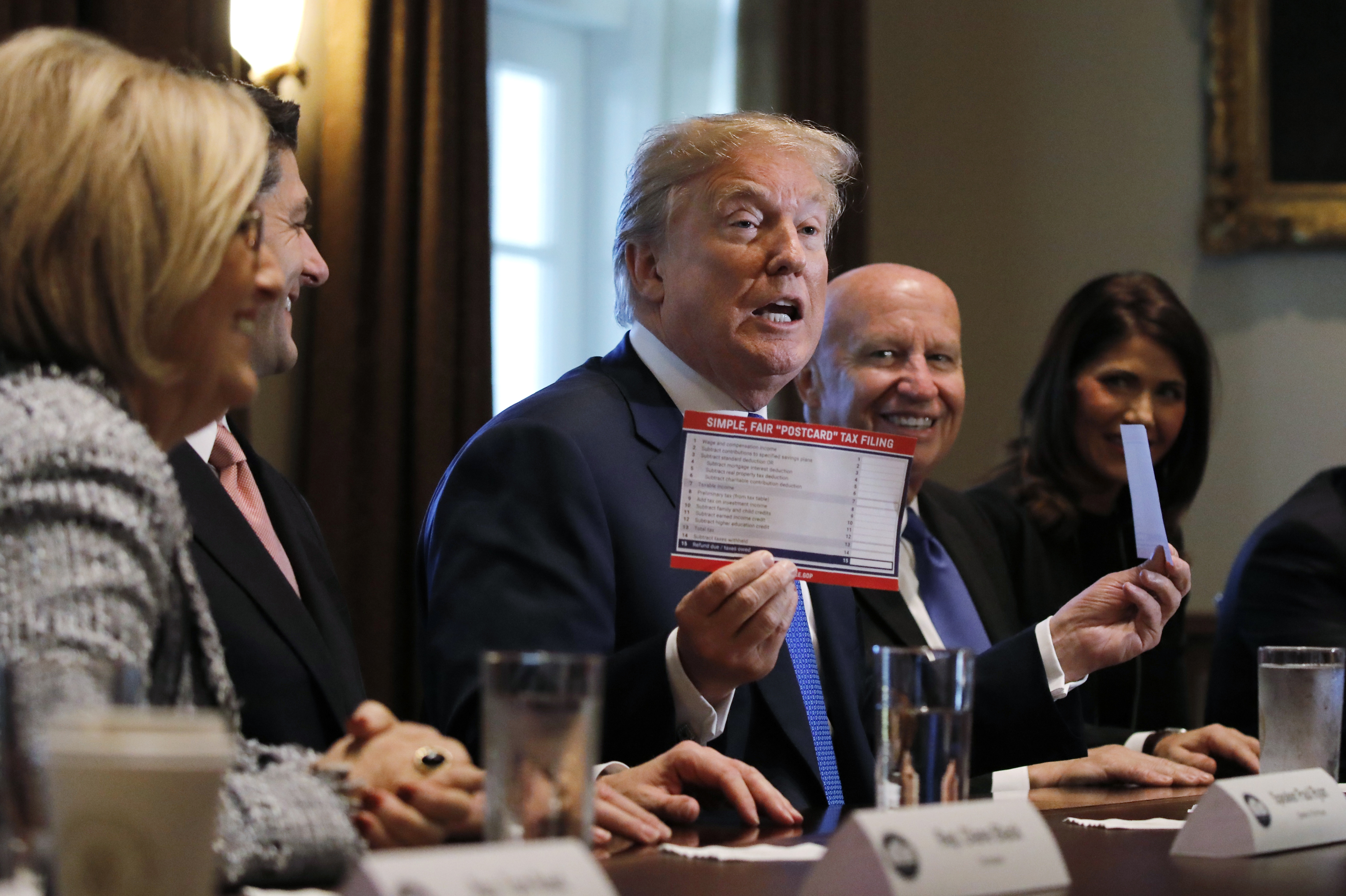 U.S. President Donald Trump promotes a newly unveiled Republican tax plan on Thursday, November 2, 2017.