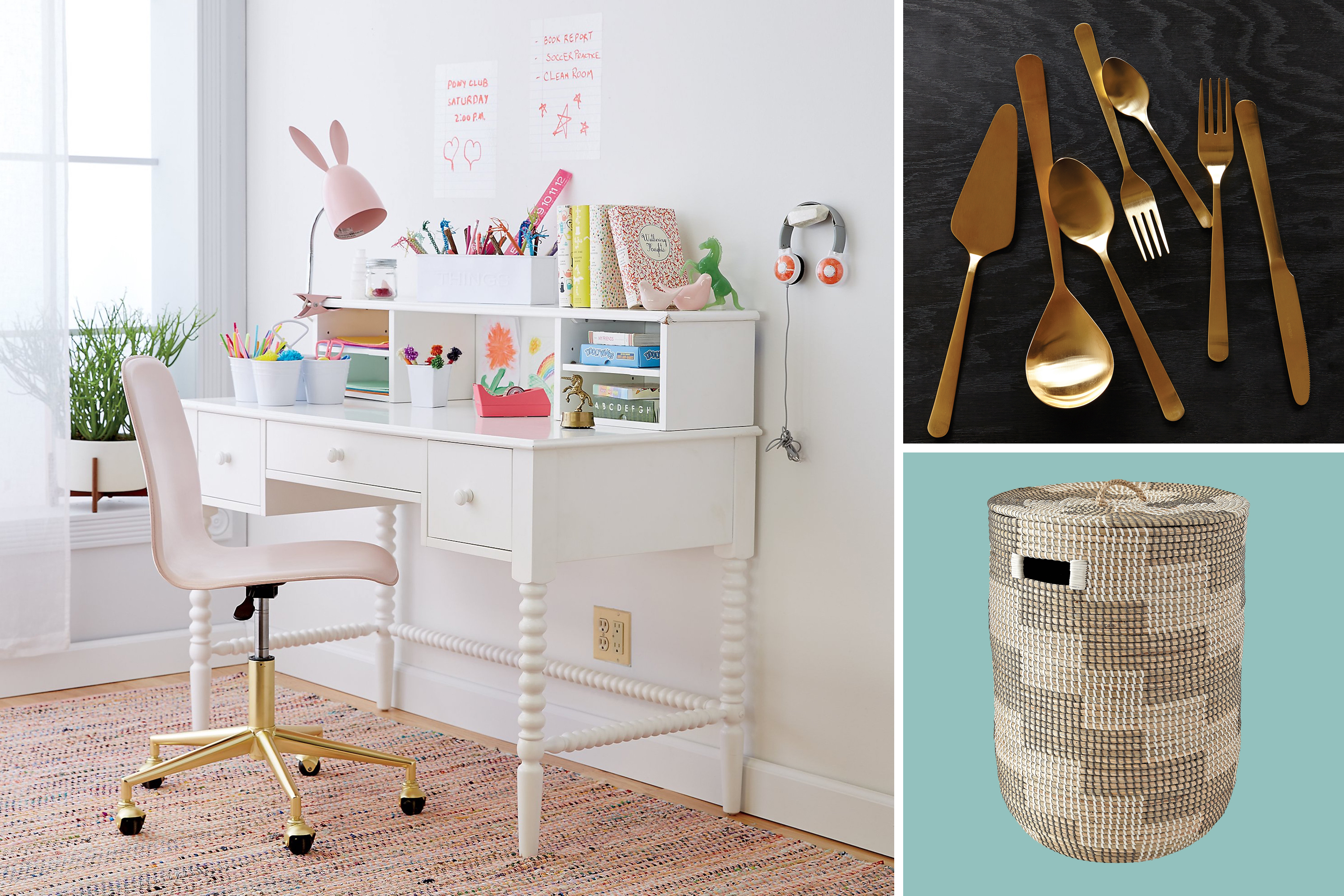 (clockwise from top right) Gold cutlery from Canvas Home, Merchant Silver Hamper from Land of Nod, Jenny Lind Spindle Desk and Hutch from Land of Nod