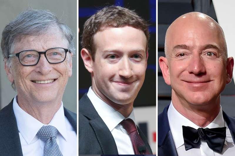 (Left to right) Bill Gates, Mark Zuckerberg, Jeff Bezos