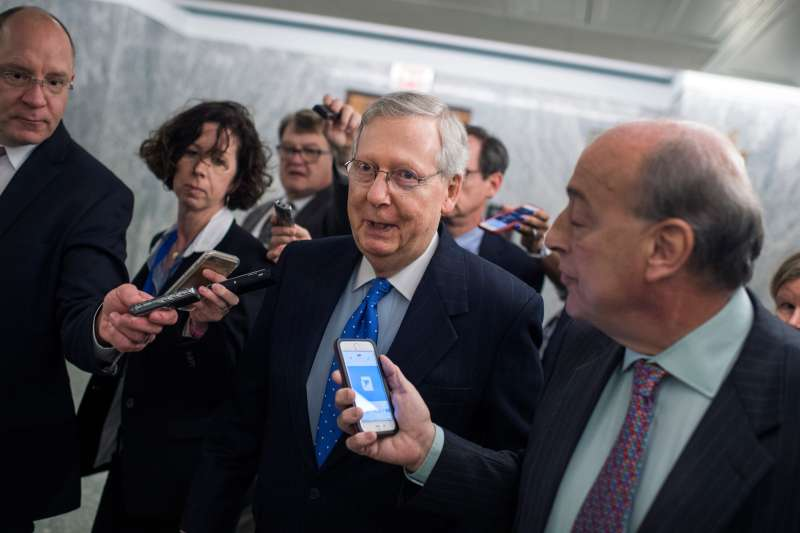 Senate Majority Leader Mitch McConnell, R-Ky., speaks with the media after a news conference in Dirksen Building on the importance of passing the tax reform bill for small businesses on November 30, 2017.