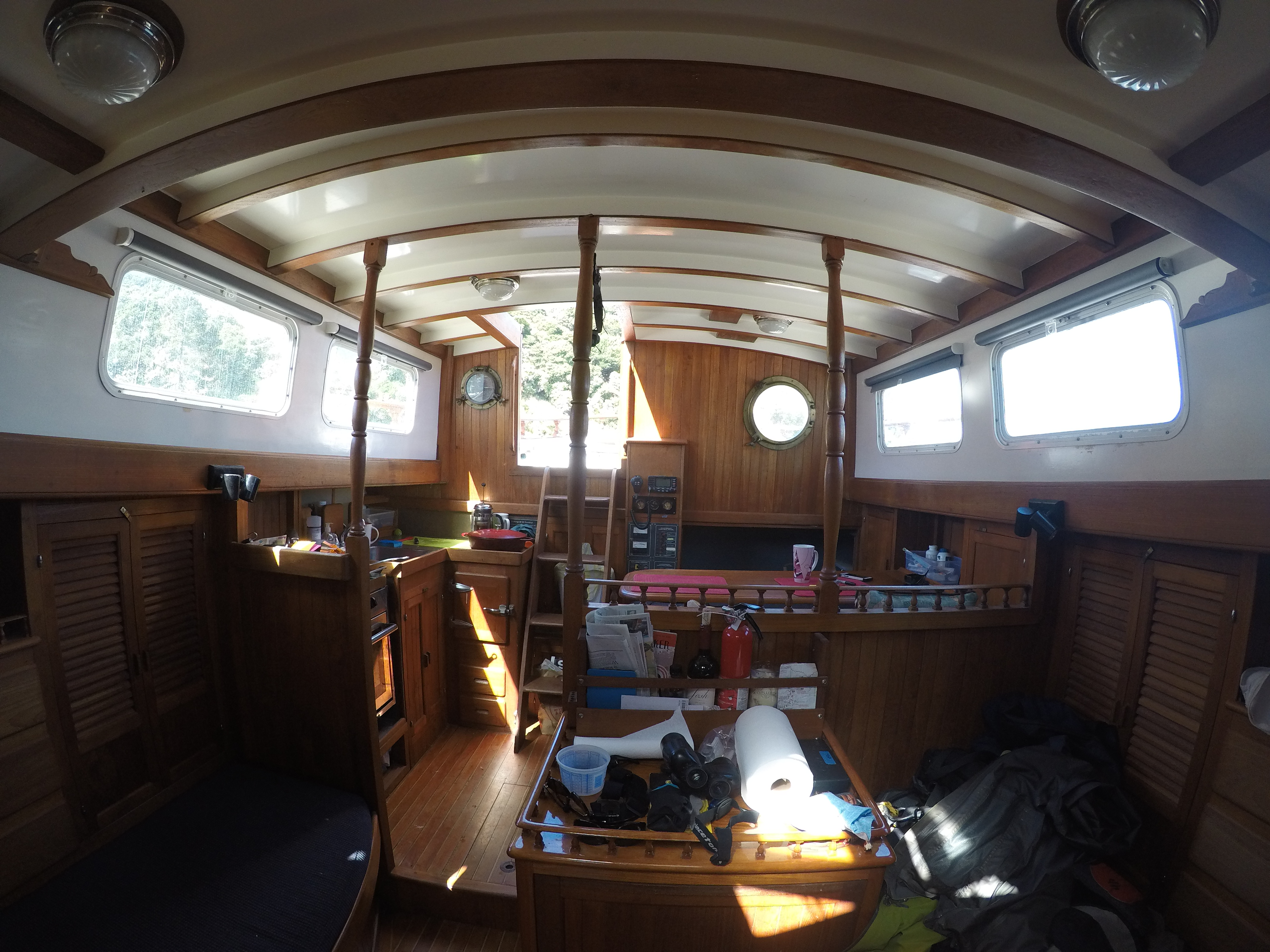 Inside of sailboat belonging to Kristin Hanes.
