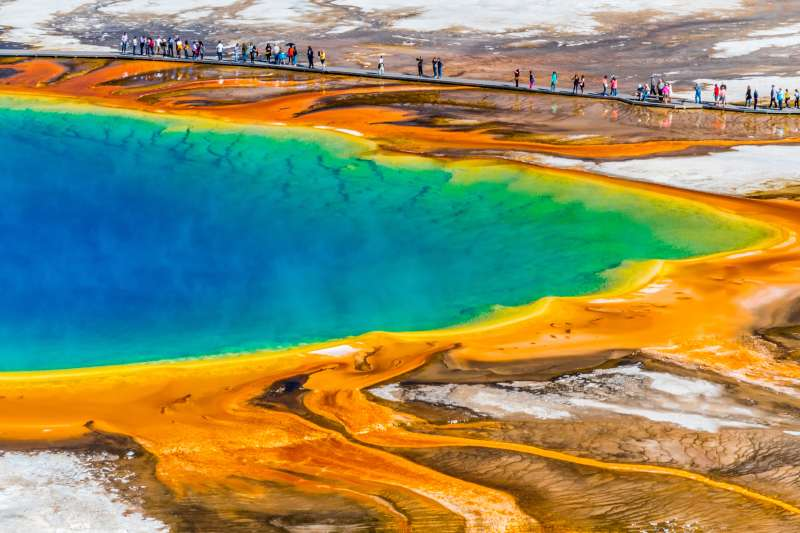 The national landmark Grand Prismatic in Yellowstone.
