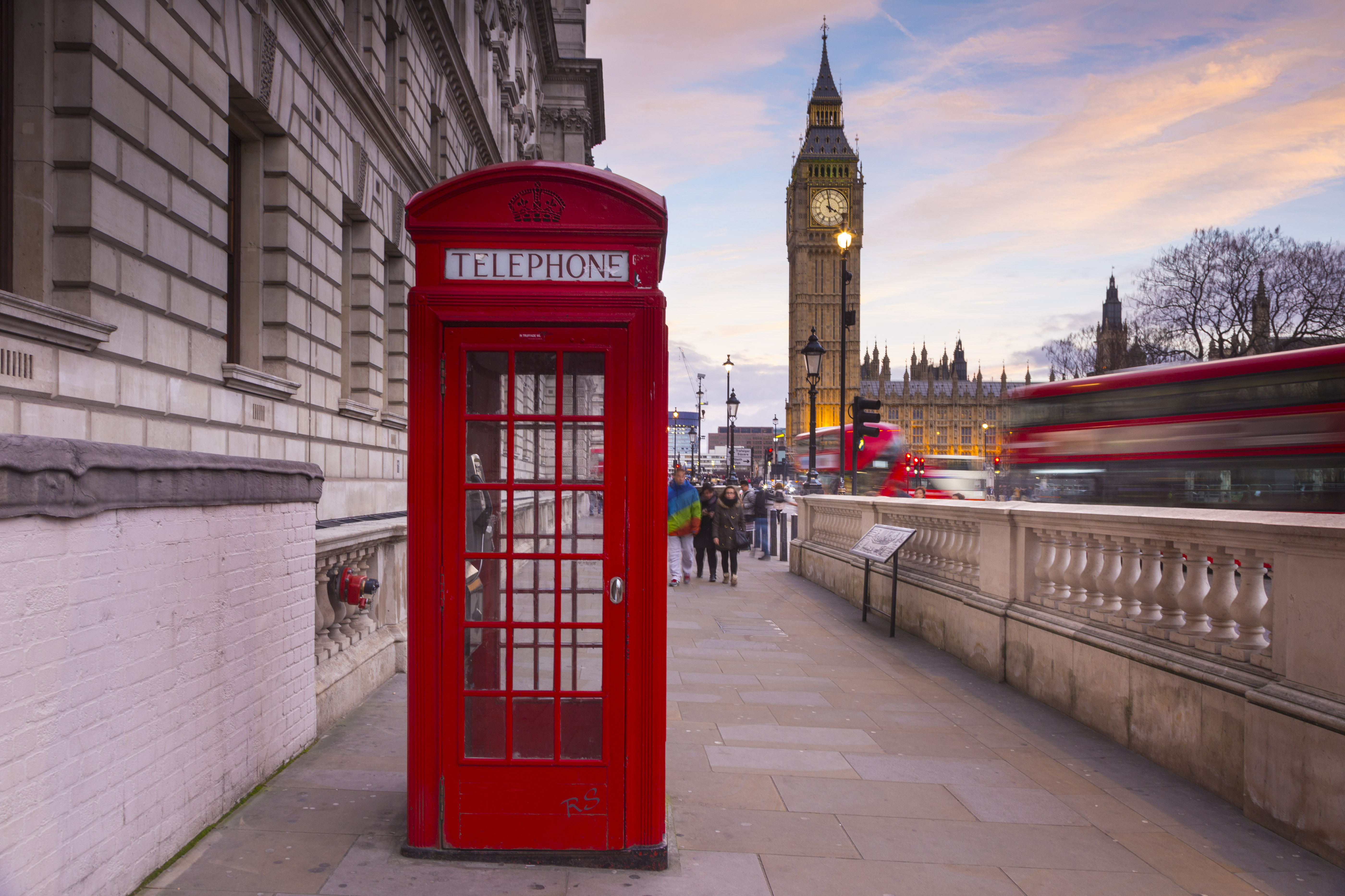 Western Europe, UK, Great Britain, England, London, Red phone box with Big Ben in background