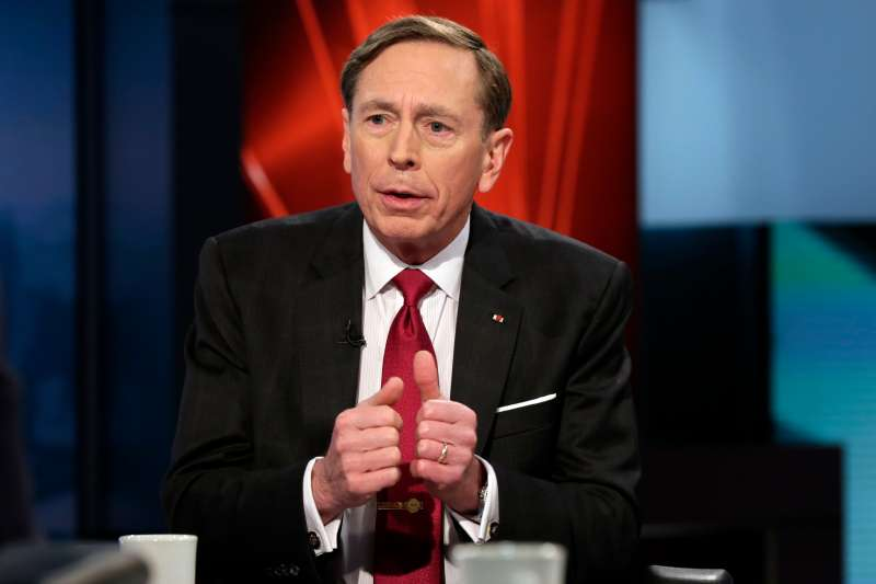 Former CIA Director and retired Gen. David Petraeus is interviewed by host Anthony Scaramucci and Maria Bartiromo during the taping of the premiere show of  Wall Street Week,  on the Fox Business Network, in New York, Thursday, March 17, 2016.